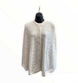 JC Penney 70s White knit cape chevron pattern