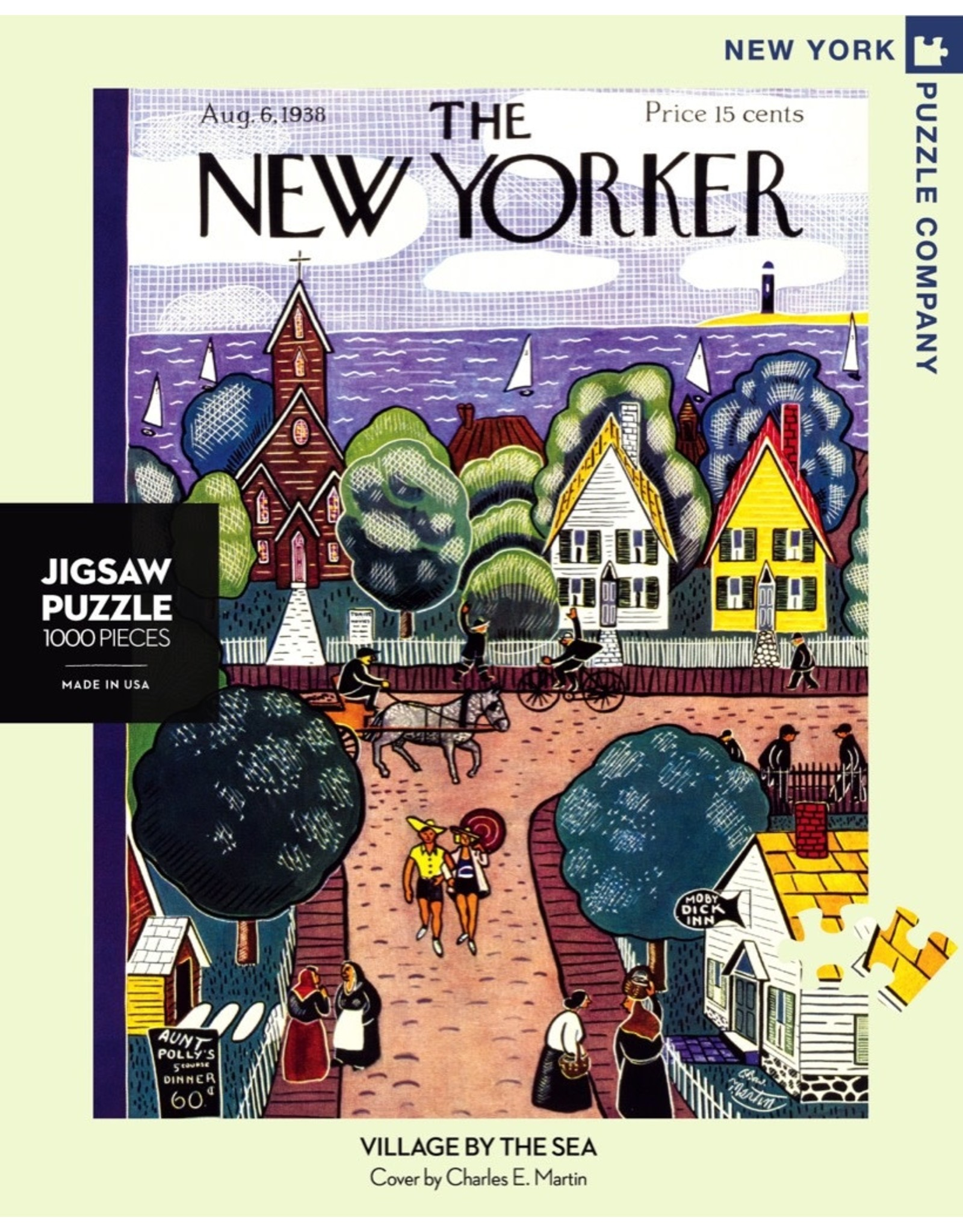 New York Puzzle Co Village by the Sea 1000pc