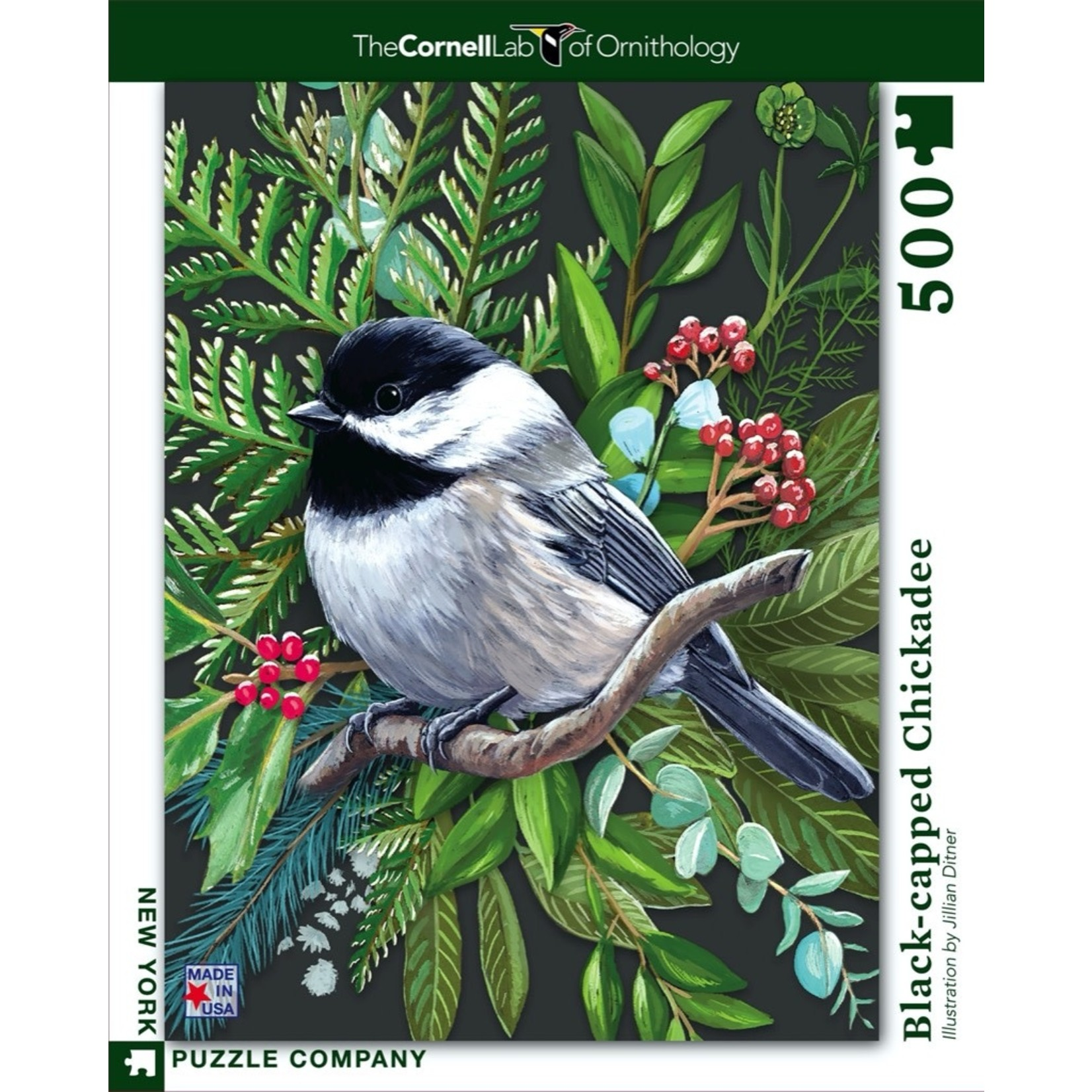 New York Puzzle Co Black-capped Chickadee 500pc