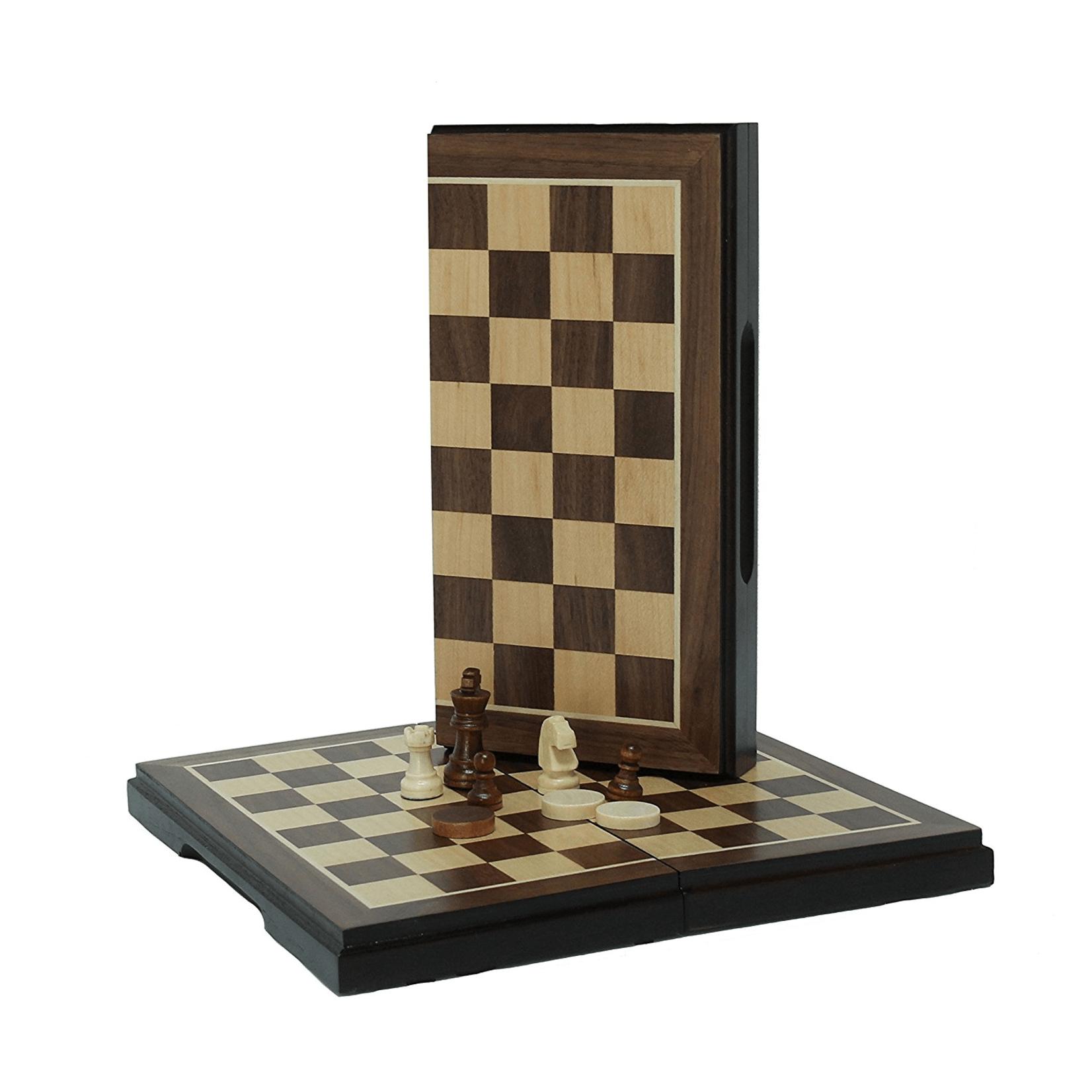 """CHESS SET: Folding 8"""" Walnut Chess & Checkers"""
