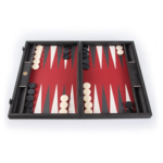 "BACKGAMMON: 19"" Wood/Red Leather"