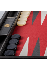 """BACKGAMMON: 19"""" Wood/Red Leather"""
