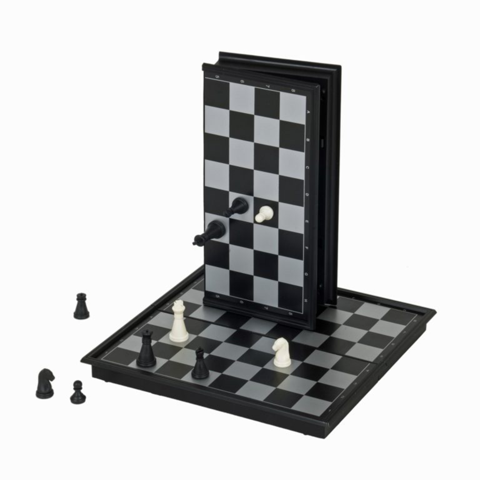"Wood Expressions CHESS SET: Folding 10"" Plastic Magnetic"