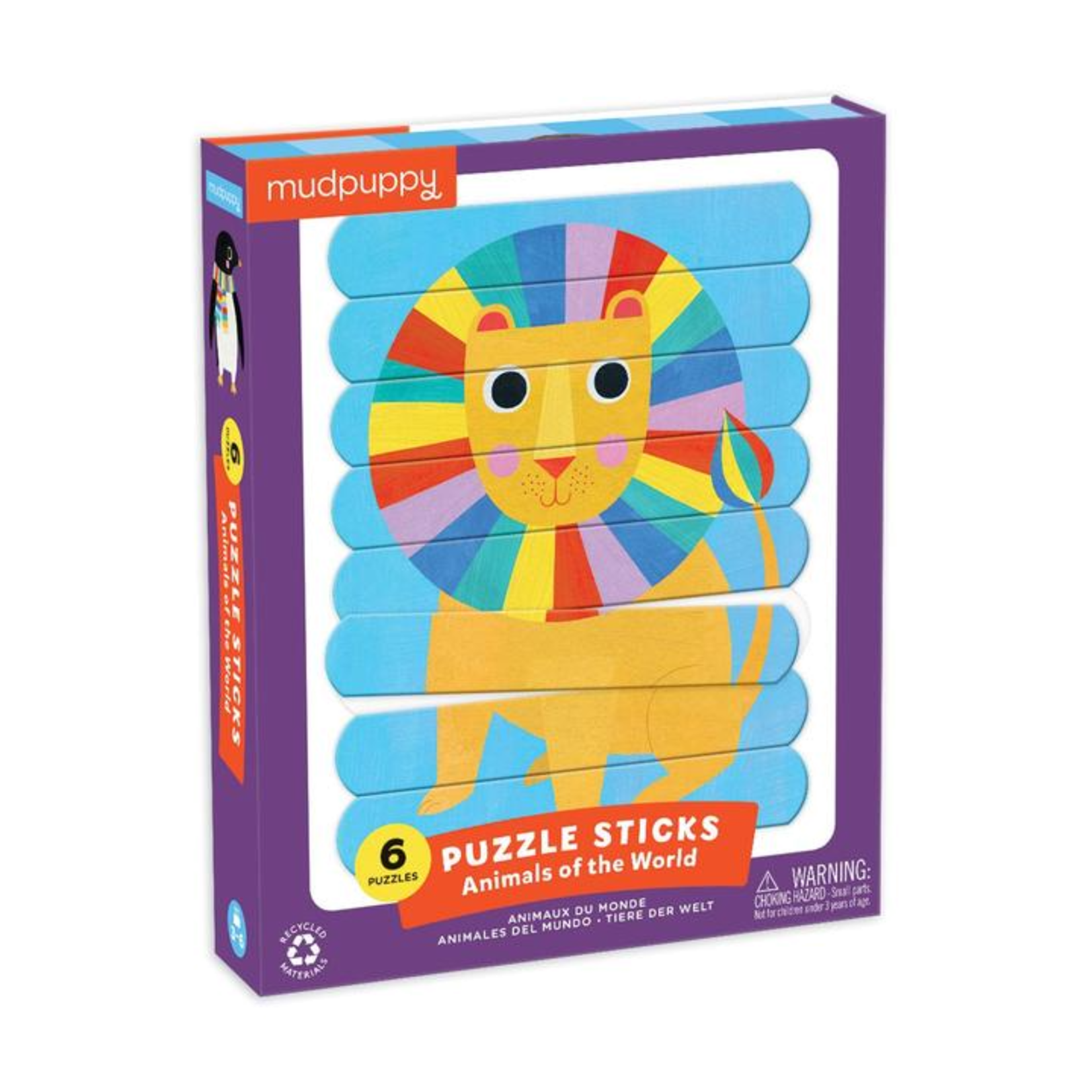 Mudpuppy Animals of the World Puzzle Sticks 6 Pack 8pc