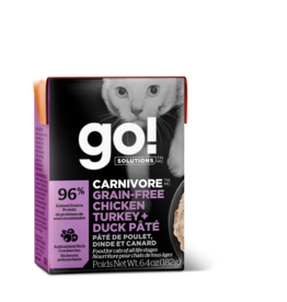 Go! GO! TetraPak Cat Carnivore GF Chicken Turkey Duck Pate 6.4oz