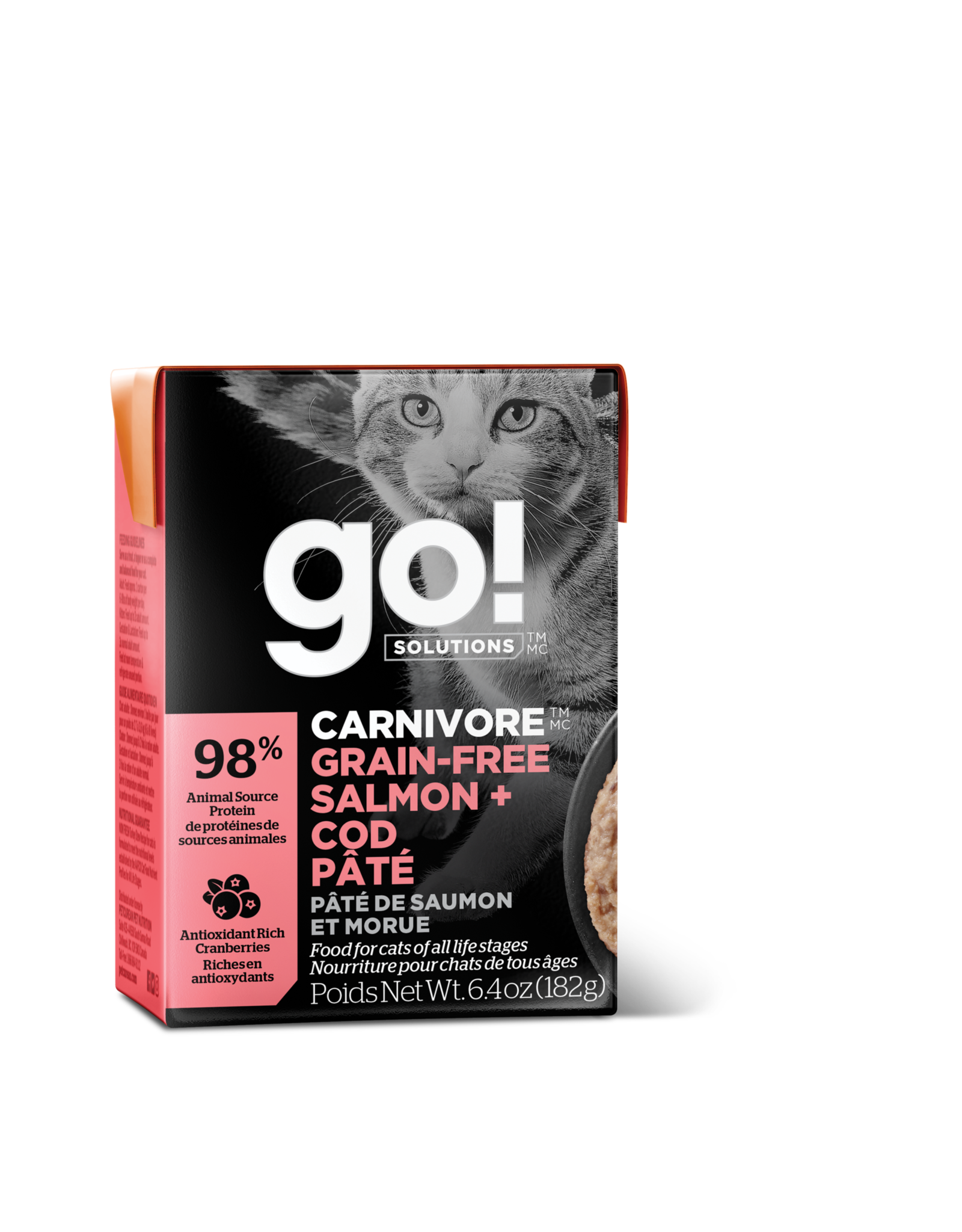 GO! GO! TetraPak Cat Carnivore GF Salmon and Cod Pate 6.4oz