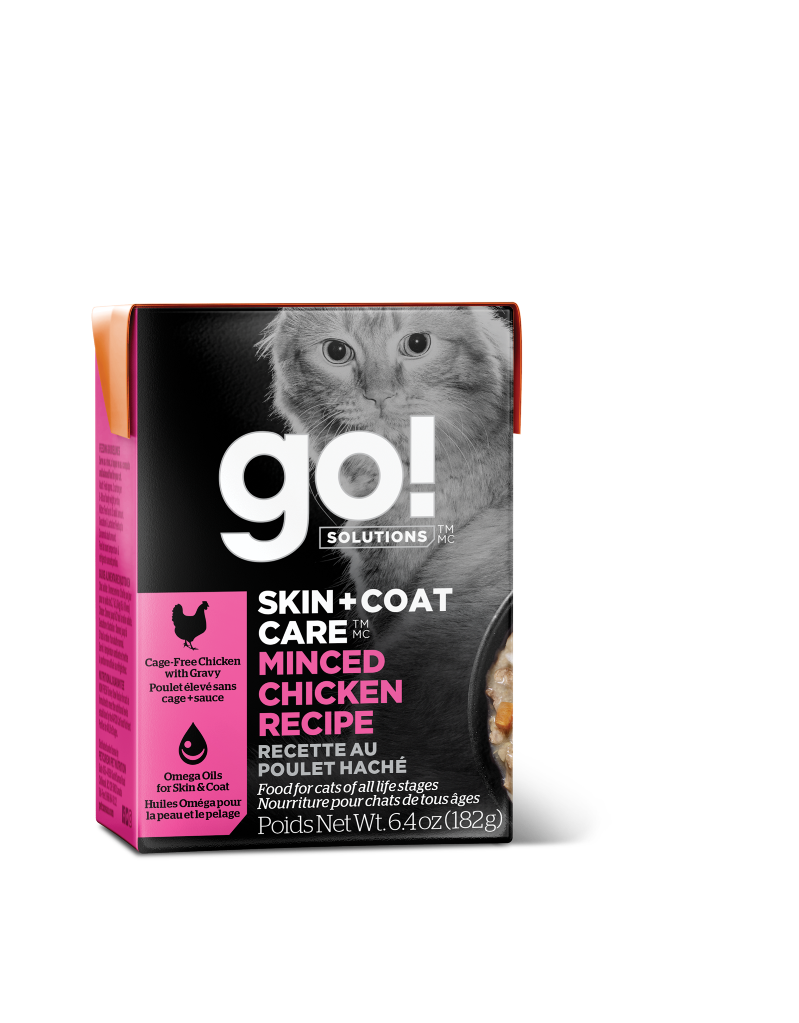 GO! GO! TetraPak Cat Skin + Coat Minced Chicken 6.4oz