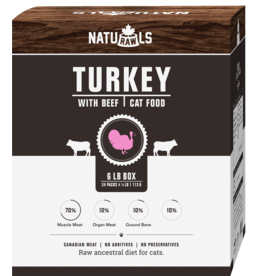 NATURAWLS Naturawls CAT - FROZEN RAW - Turkey & Beef 6lbs (24x113g)