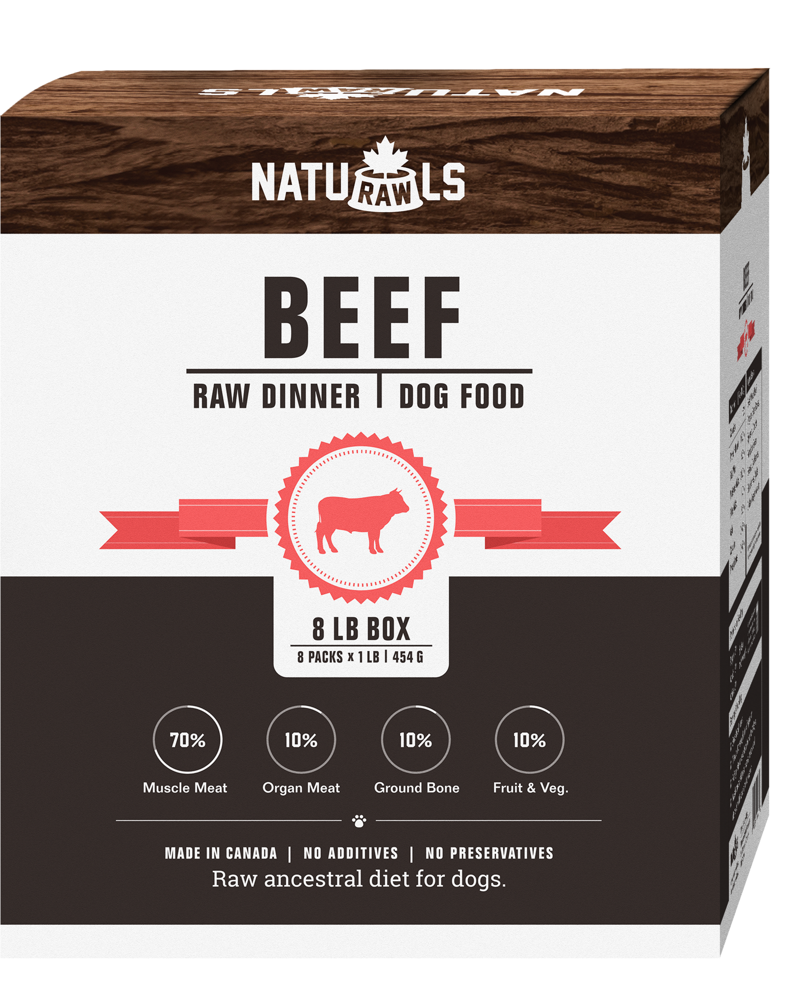NATURAWLS Naturawls FROZEN RAW for DOGS - Beef w. Veggies 8 x 1lb