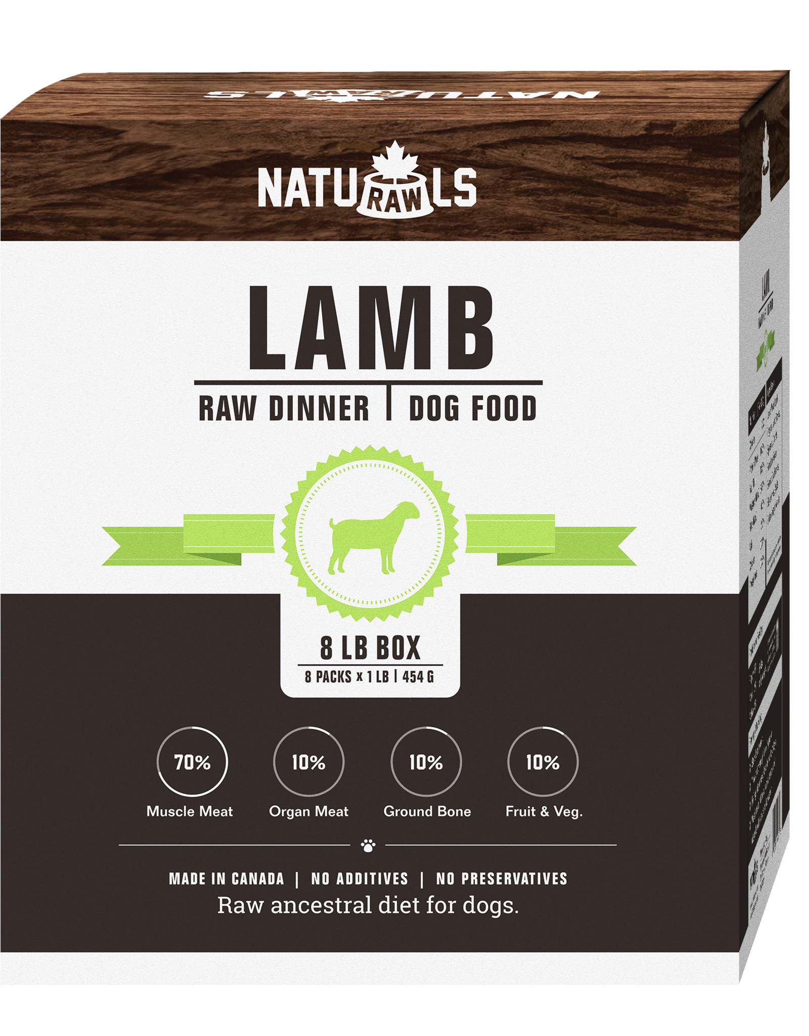 NATURAWLS Naturawls FROZEN RAW for DOGS - Lamb w. Veggies 8 x 1lb