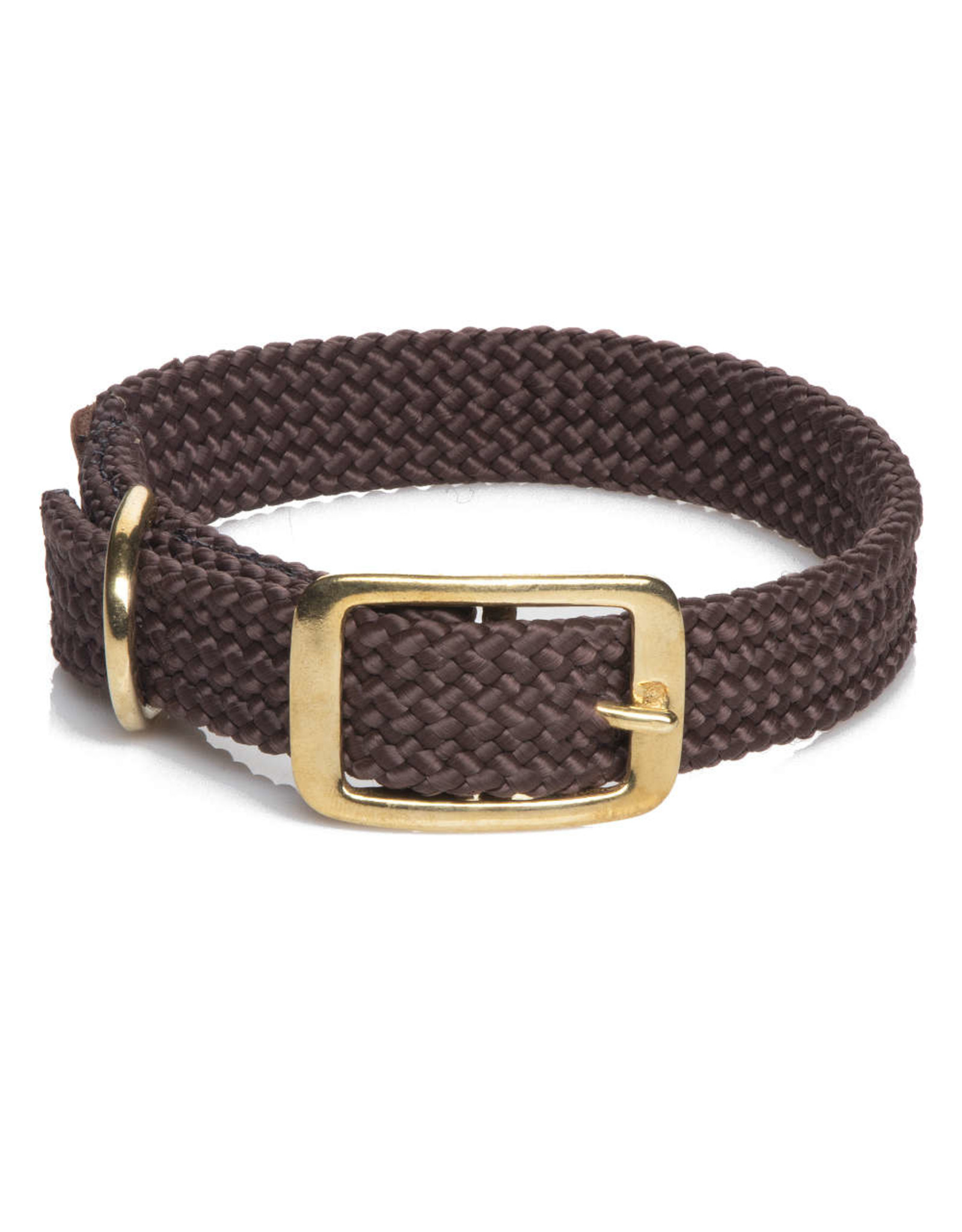 "Mendota Mendota Double-Braid Collar DARK BROWN 1""x18"""