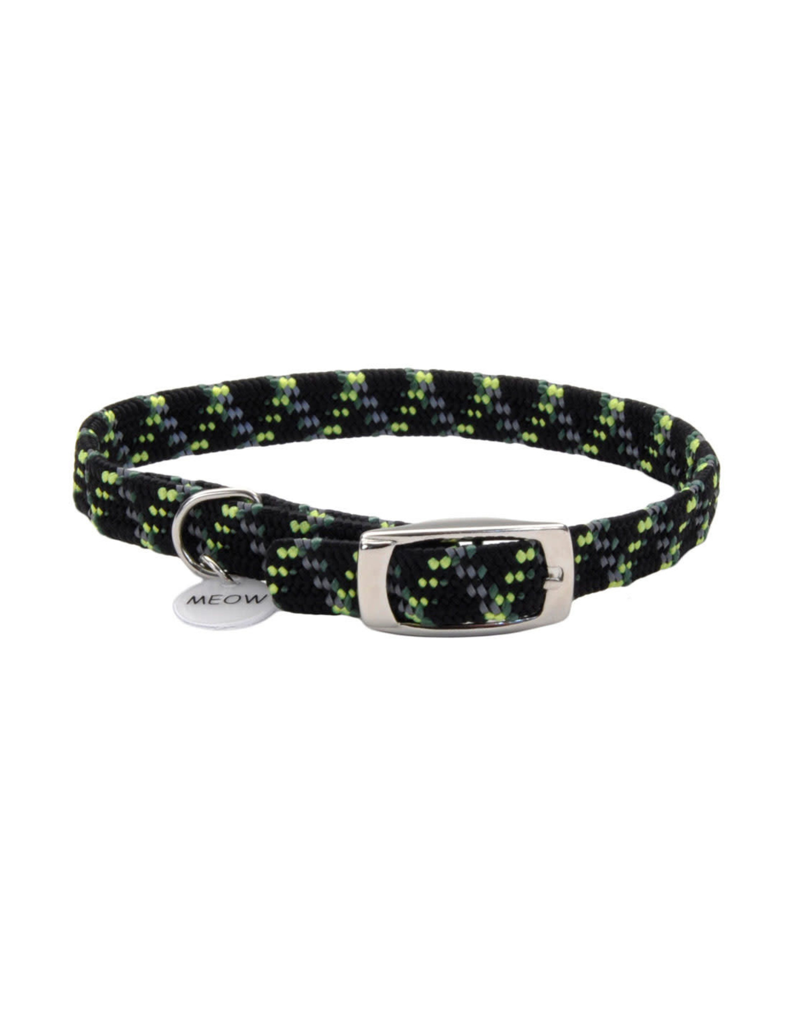 "Coastal Coastal Elasta Cat Reflective/Stretch Collar - 10 "" Black & Green"