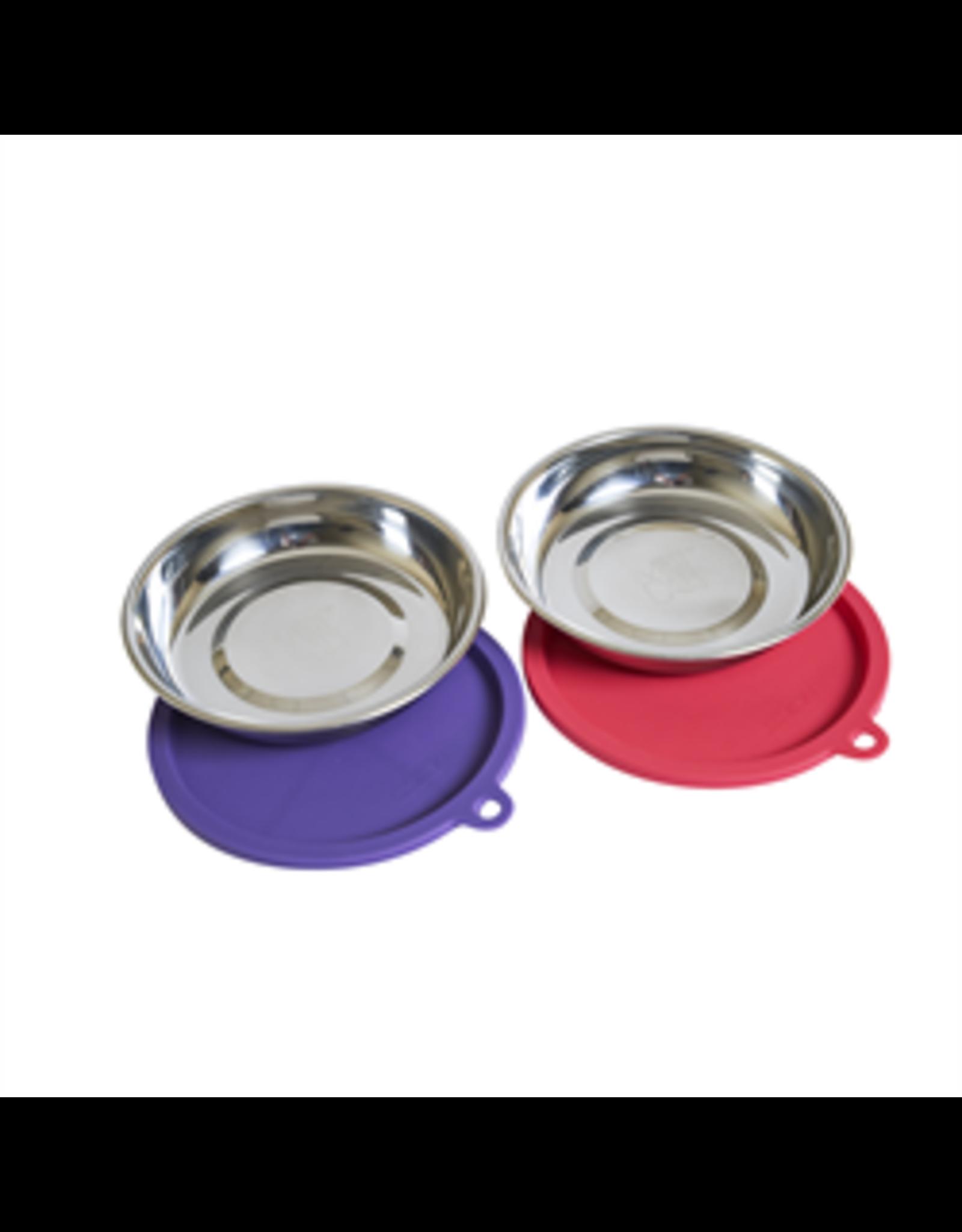 MessyCats MessyCats - 4pc Set - StainlessSaucerBowls w. Lids - Watermelon/Purple