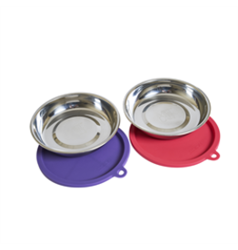 MessyCats MessyCats - 4pc Set - StainlessSaucerBowls w. Lids - Watermelon/Purple