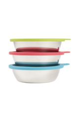 MessyMutts MessyMutts - 6pc Set - StainlessSaucerBowls w. Lids - MD Blue,Green,Watermelon