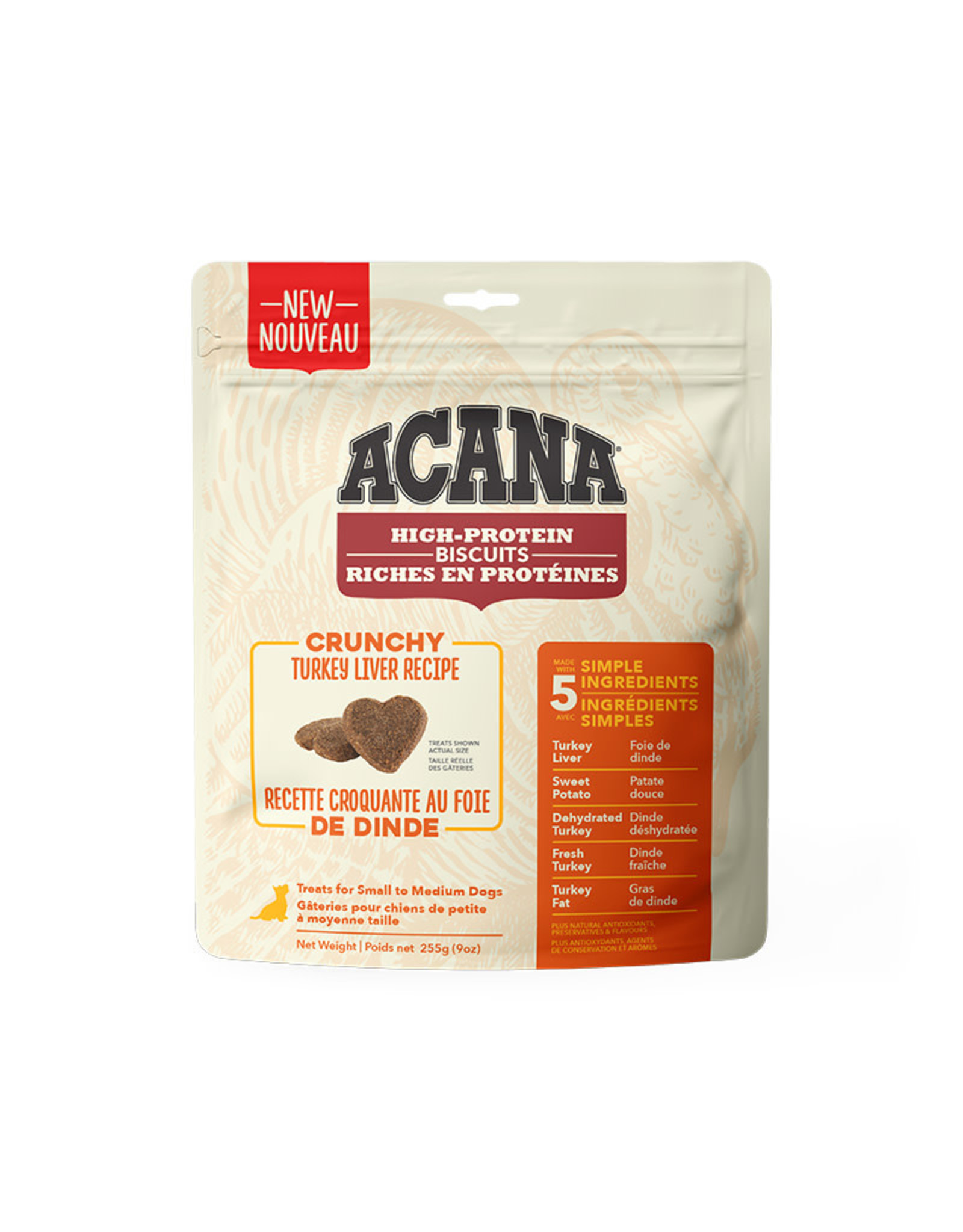 ACANA Acana DOG Biscuits - Crunchy Turkey Liver Recipe 255g  - S/M