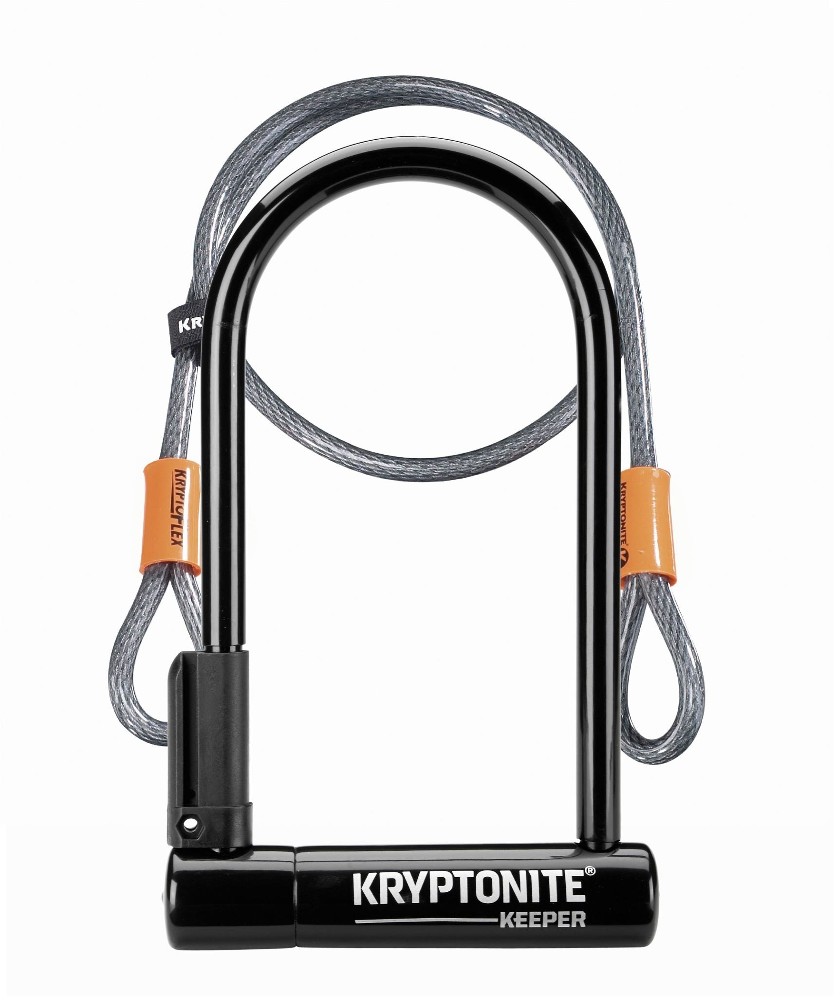 KRYPTONITE Kryptonite Keeper 12 Standard U Lock with 4' Flex Cable