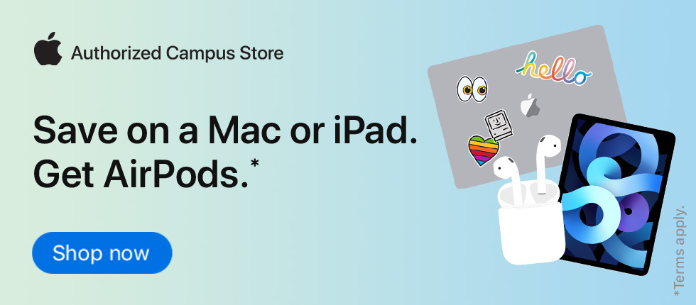 Save on a Mac or iPad. Get AirPods.* Shop Now button