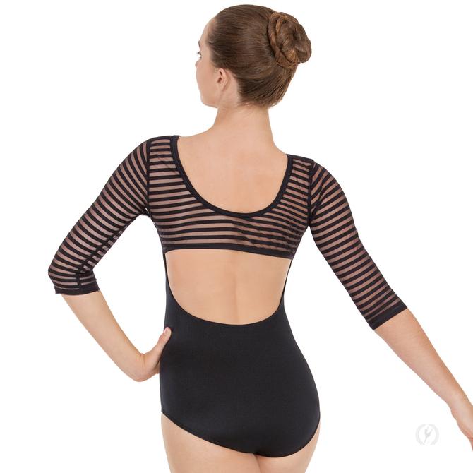 EUROTARD Womens Striped Mesh 3/4 Sleeve