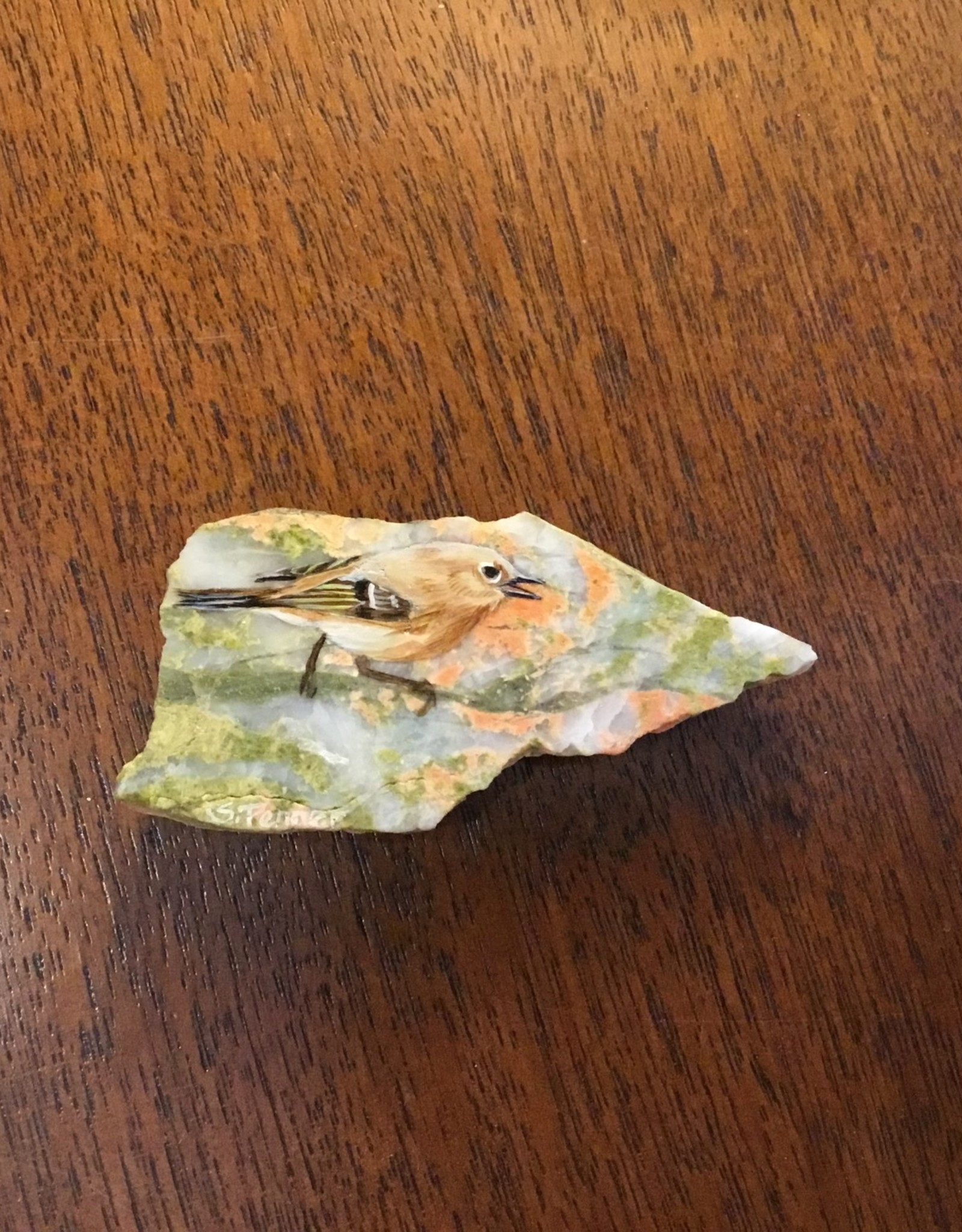 Painted Bird on Rock Magnet