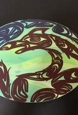 """Aboriginal - Oval Native Canvas Painting (9""""x12"""")"""