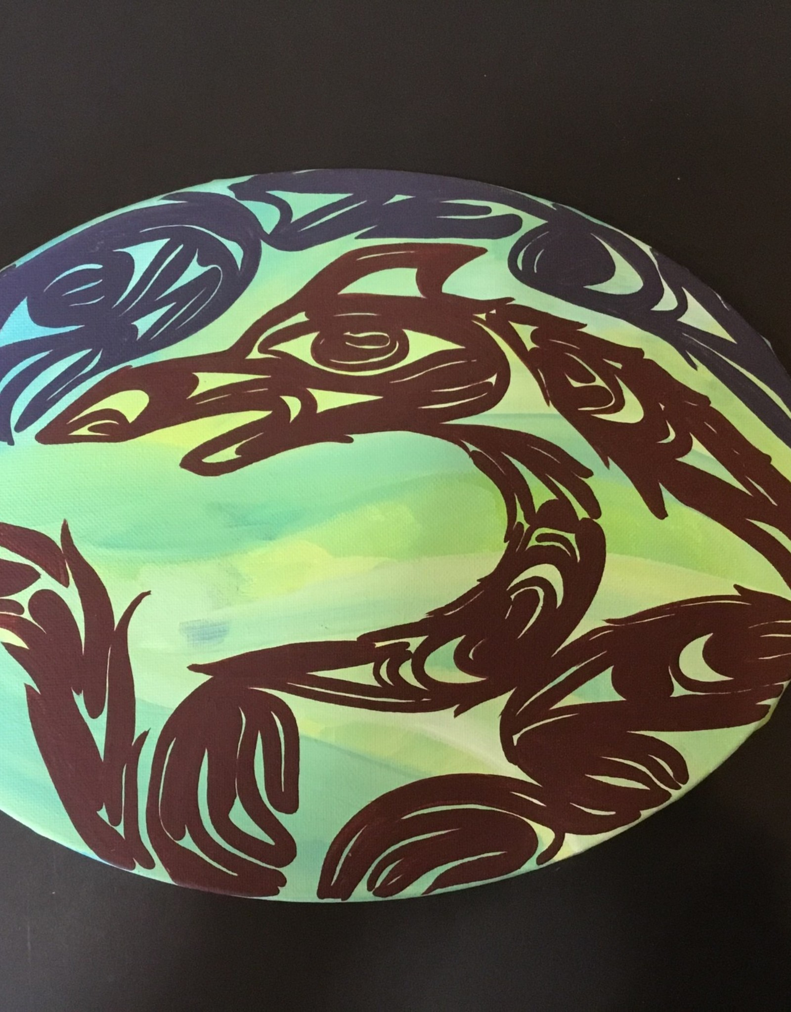 "Oval Native Canvas Painting (9""x12"")"