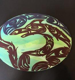 "Purple Pigeon Treasures Oval Native Canvas Painting (9""x12"")"