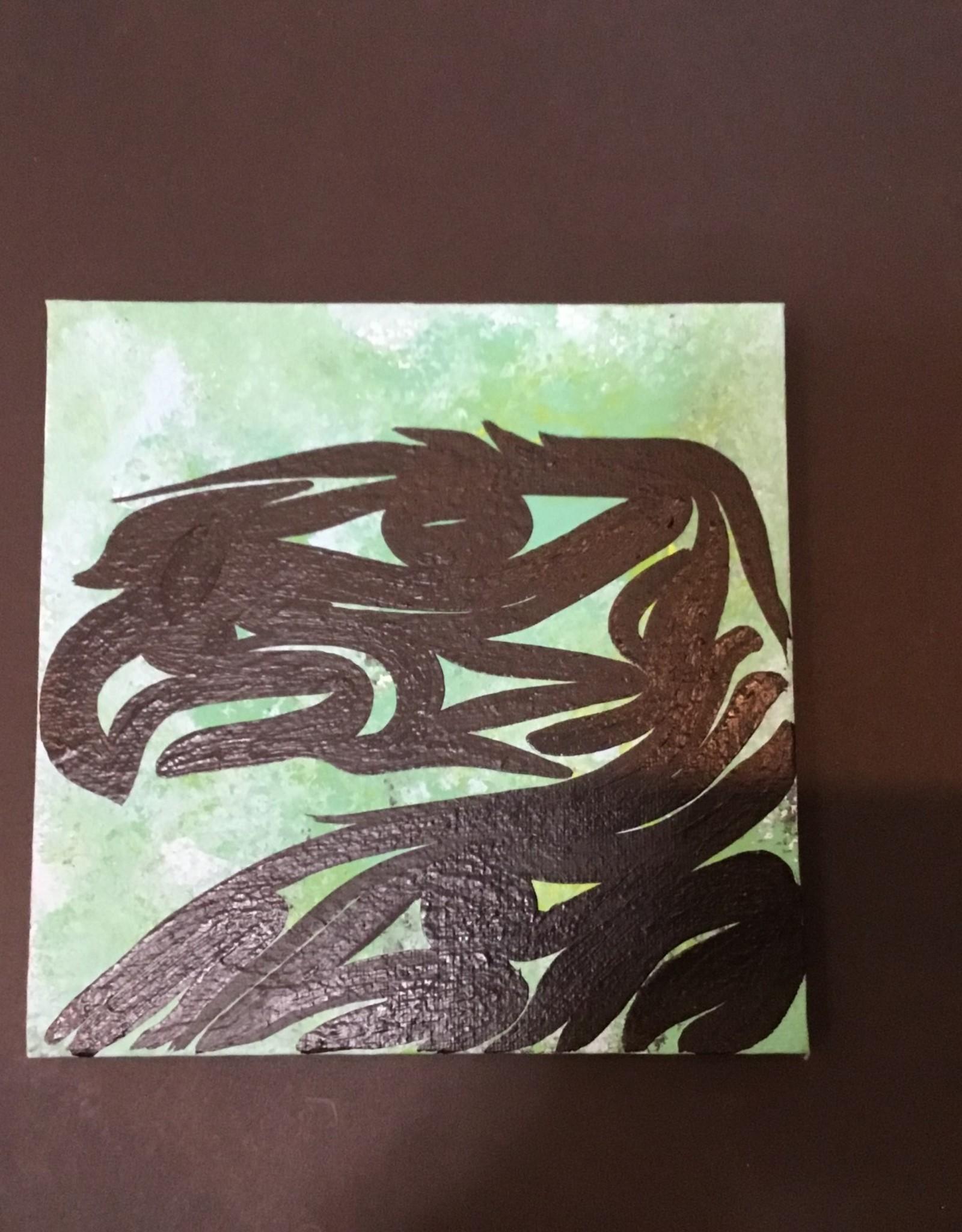 "Aboriginal - Native Eagle  Canvas Painting (6"")"