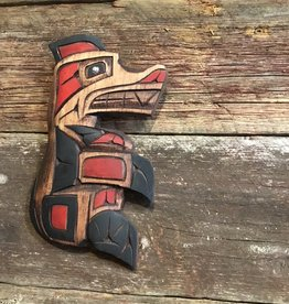 Native Bear Carving w/ abalone eye (8inch tall)
