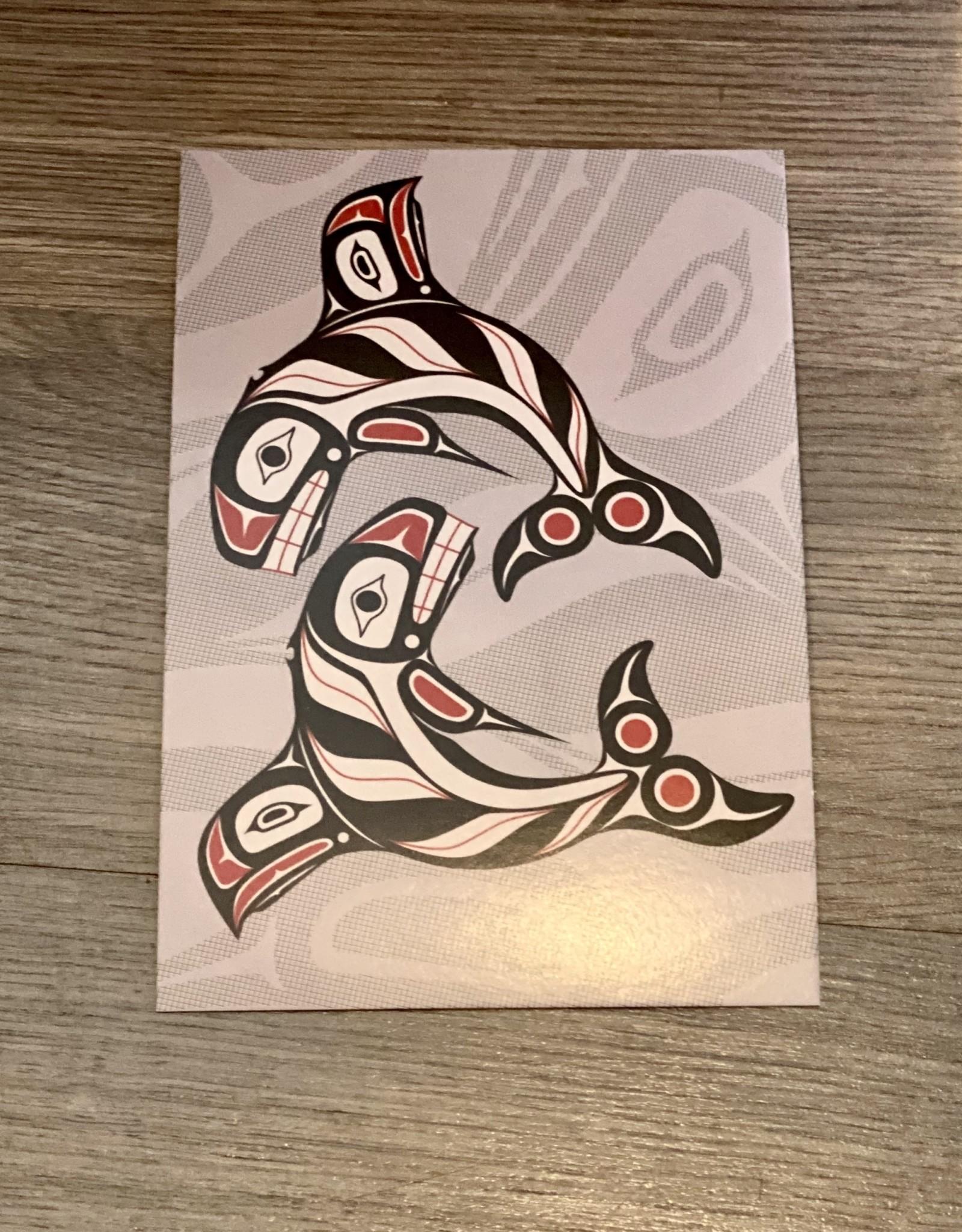 Purple Pigeon Treasures Post Card - Raven Fin Killer Whale