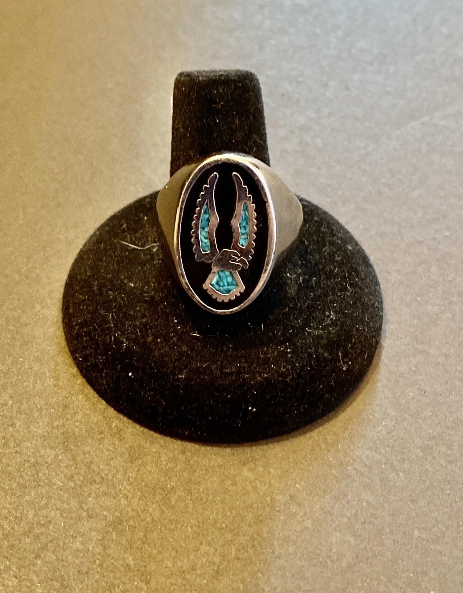 Eagle Turquoise Ring   .925   Size 11
