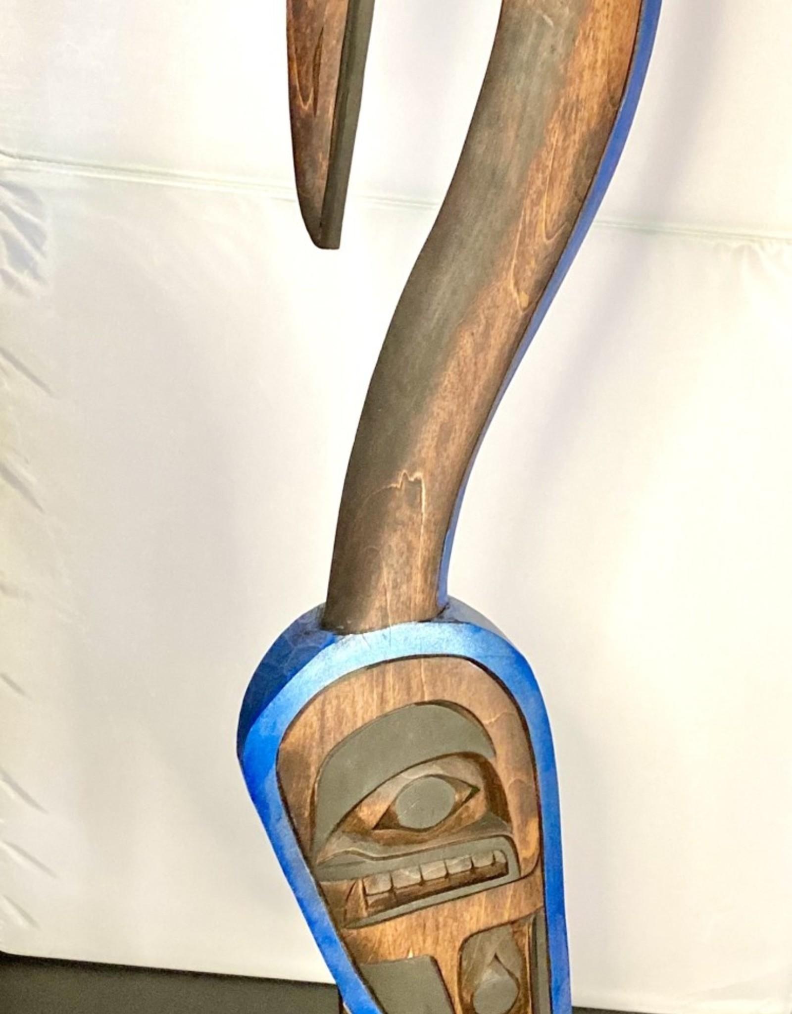 Aboriginal - Native Carving of a Crane on a Salmon