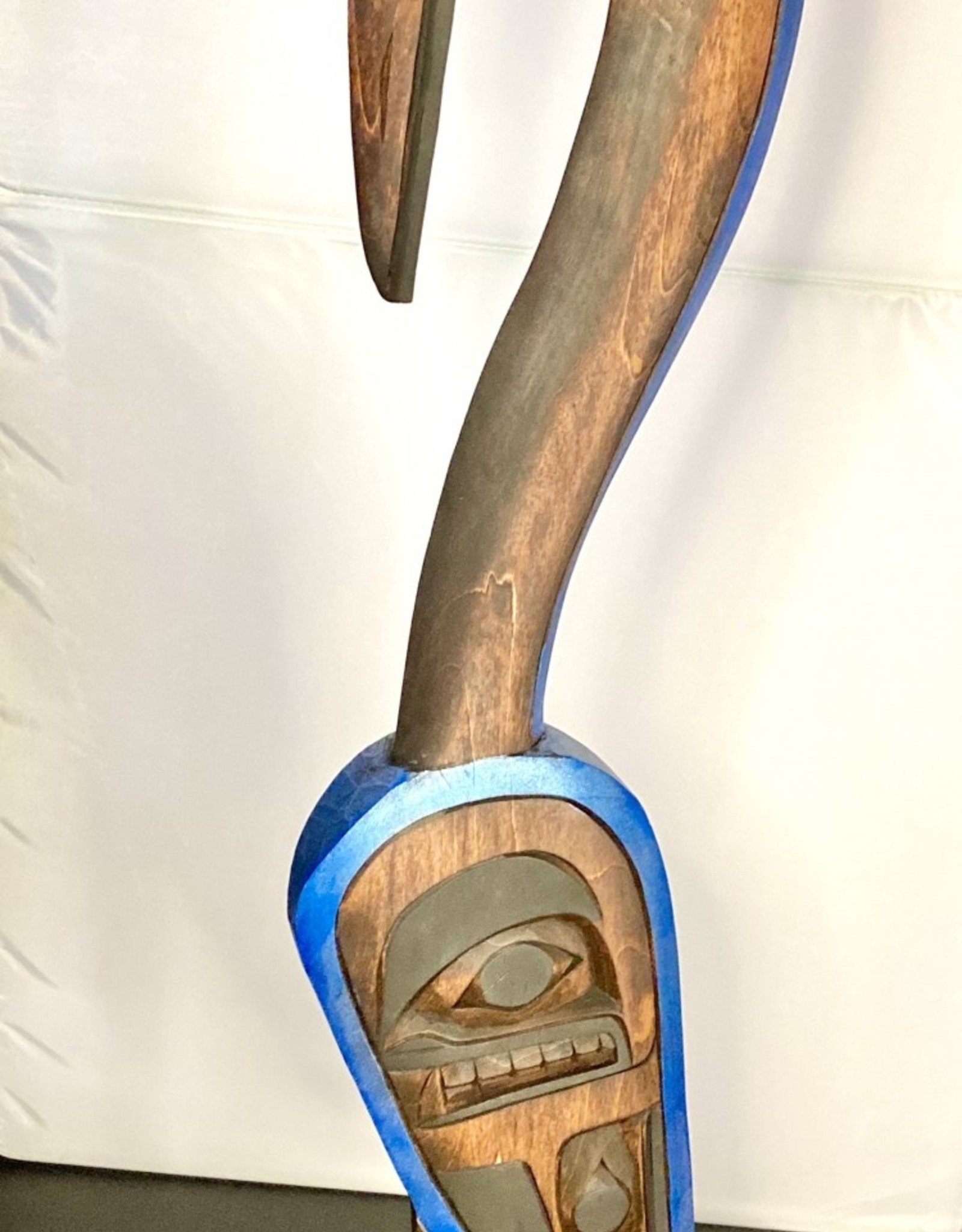 Native Carving of a Crane on a Salmon