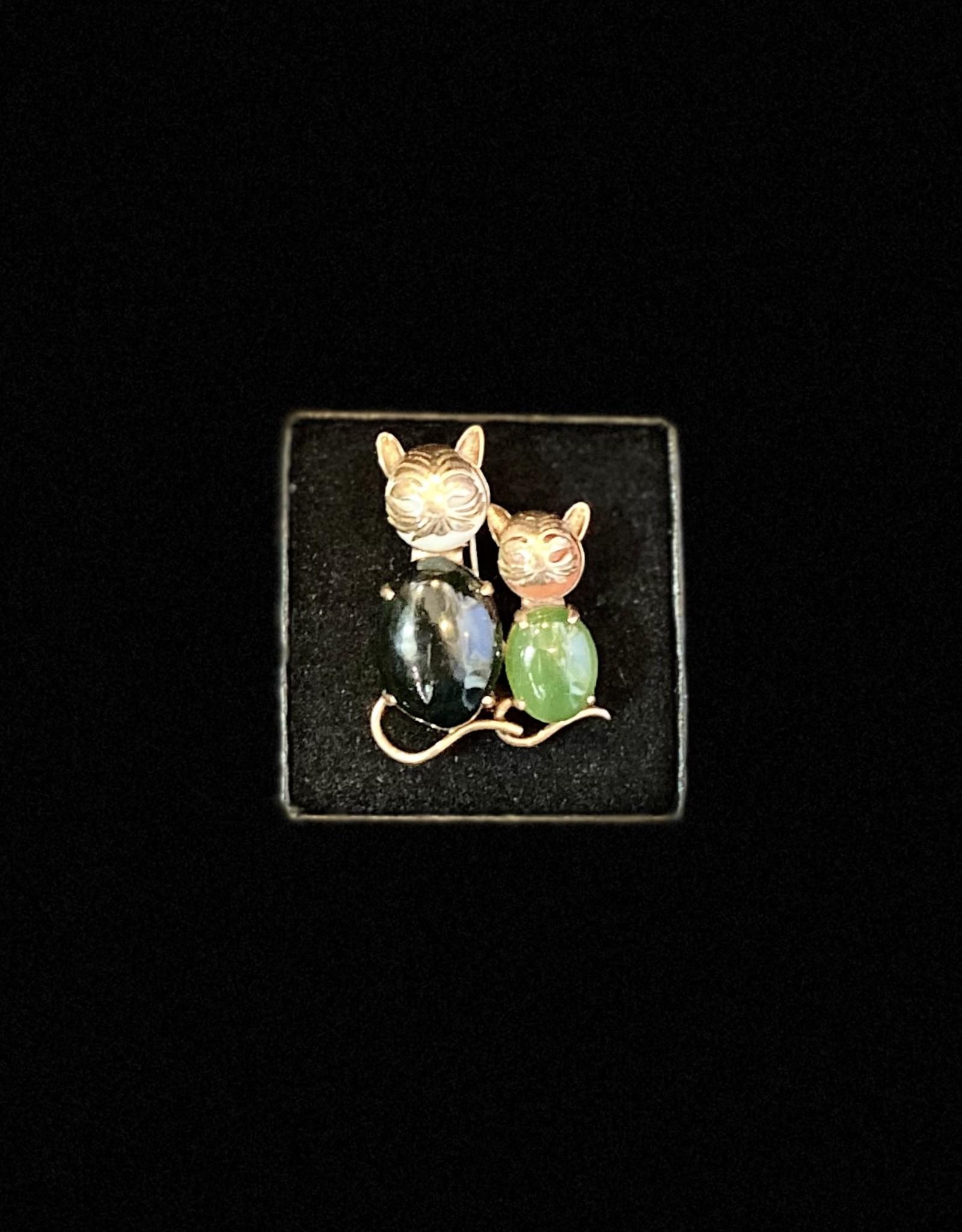 Antique Kitten Broach  14k Agate/Jade/Coral