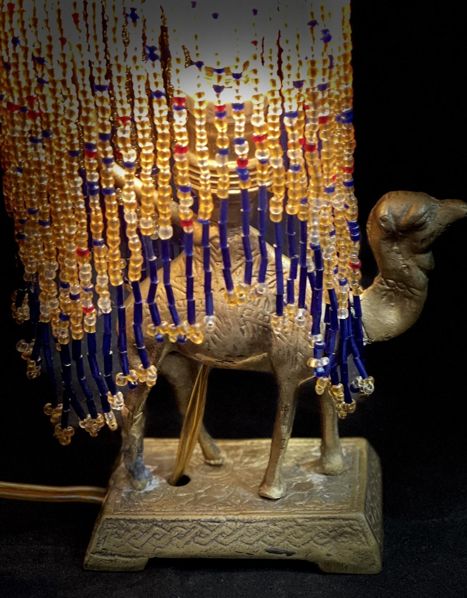 Purple Pigeon Treasures Vintage Syrian Glass Beaded Camel Lamp