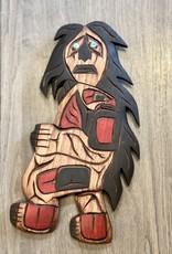 Aboriginal - Native Carving Sasquatch or Bukwus abalone eyes (9.5inch tall)