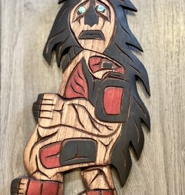 Native Carving Sasquatch or Bukwus abalone eyes (9.5inch tall)
