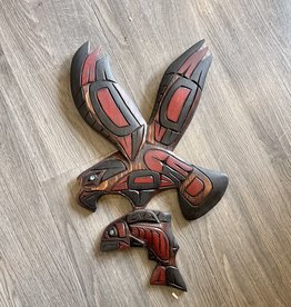 Purple Pigeon Treasures Eagle Carrying Salmon Carving Abalone Eye