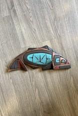 Purple Pigeon Treasures Salmon Carving Abalone Eye