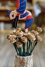 Hummingbird Carving in handmade Cedar Roses