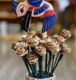 Aboriginal - Hummingbird Carving in handmade Cedar Roses