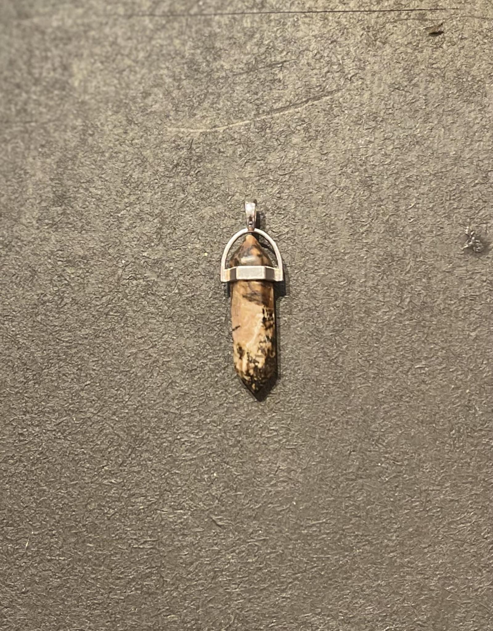Crystals - Stone Single Tip Pendant - sm Rhodonite Pendant