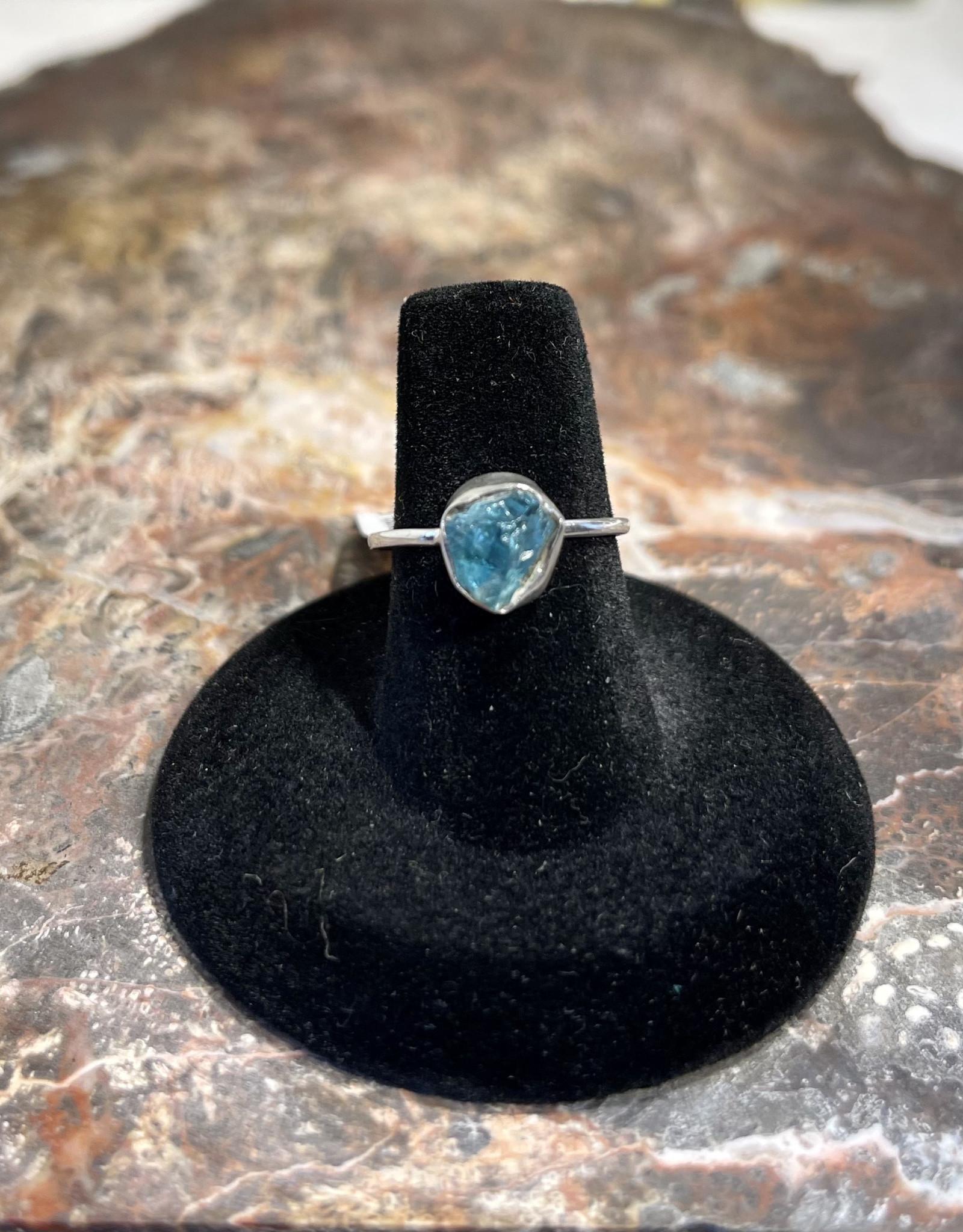 Jewelry - Rough Cut Blue Topaz Ring   .925 Sz 6.5