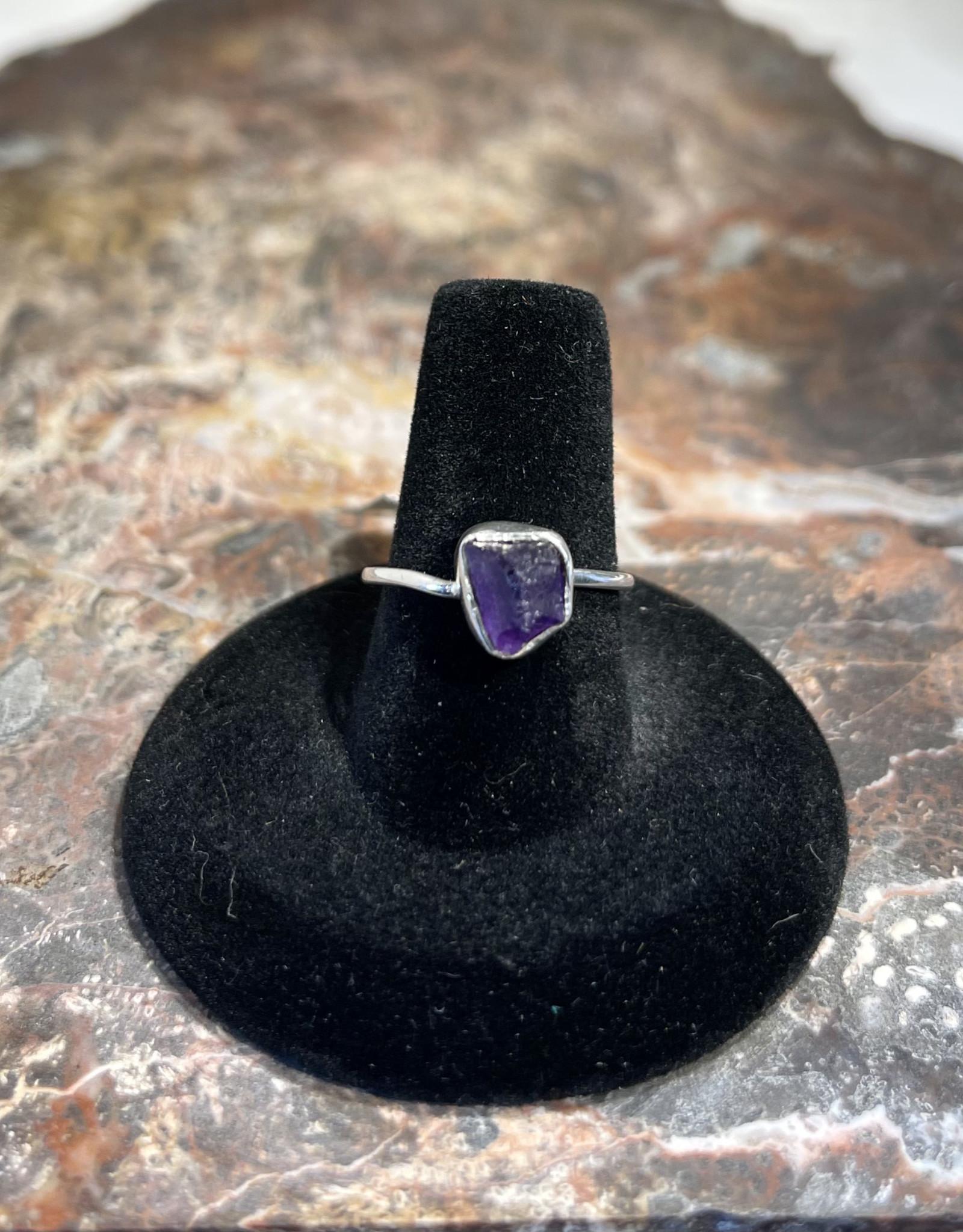 Jewelry - Rough Cut Amethyst Ring   .925 Sz 7.5