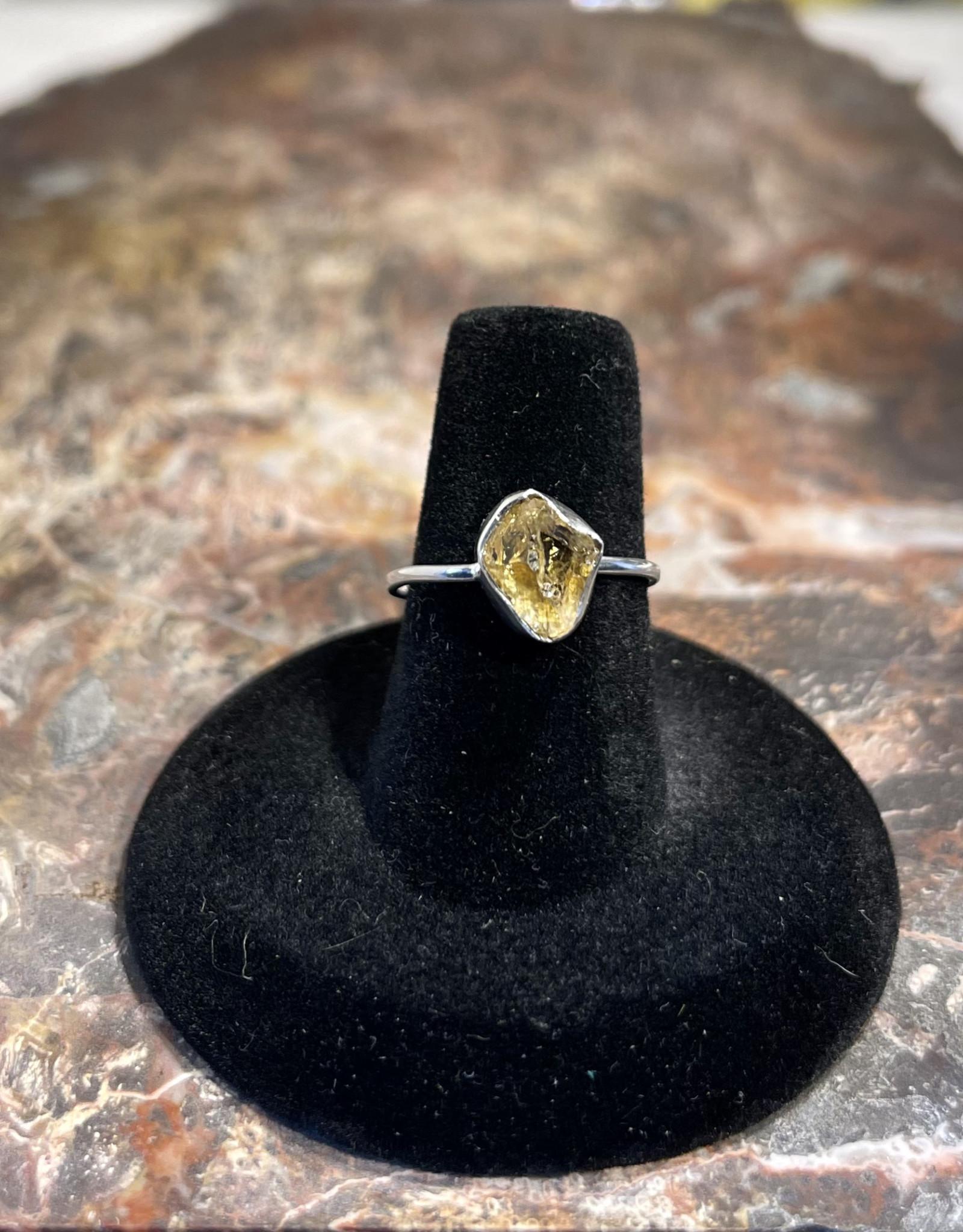 Jewelry - Rough Cut Citrine Ring .925  Sz 6.5