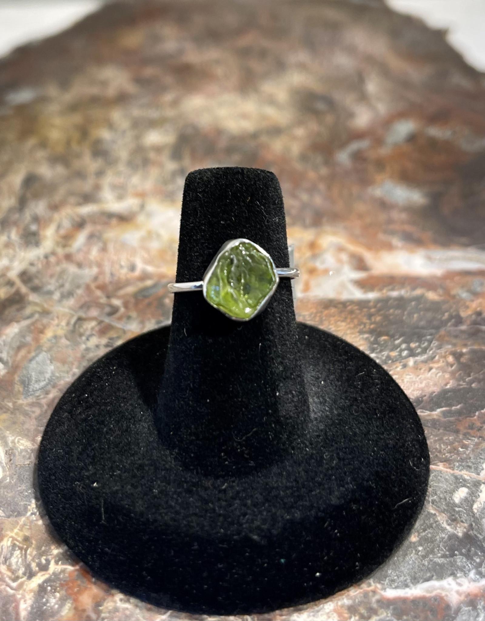 Jewelry - Rough Cut Green Peridot  .925 Sz 6