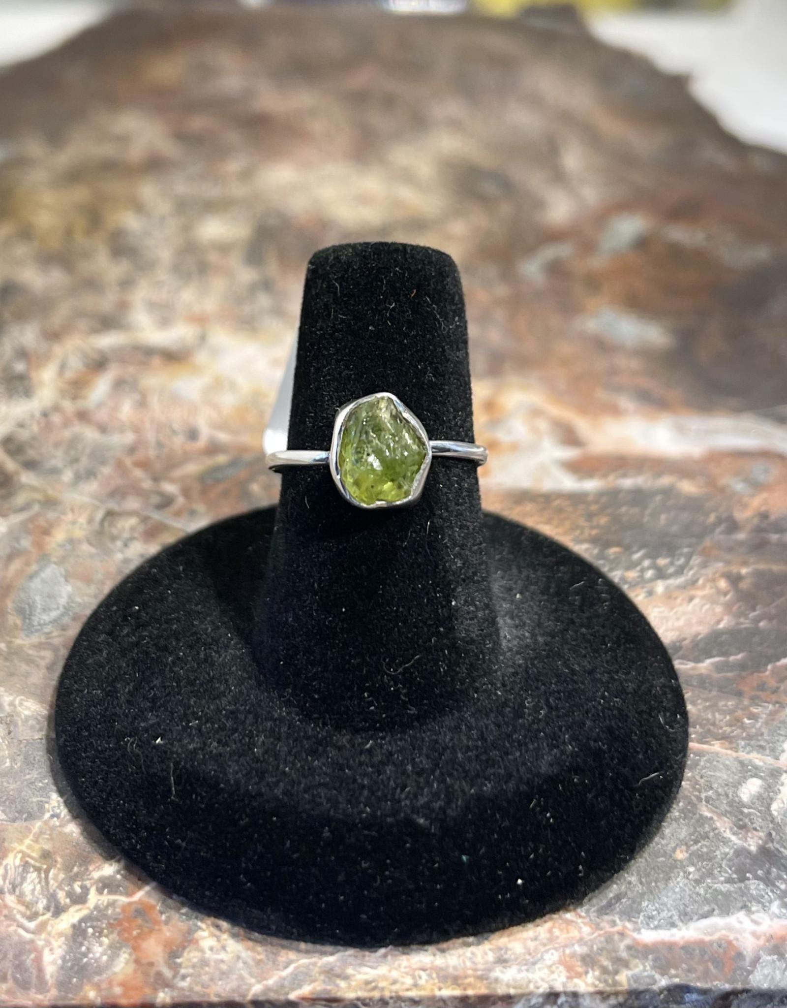 Jewelry - Rough Cut Green Peridot  .925 Sz 6.5