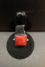 Jewelry - Red Coral Ring .925 sz9.5