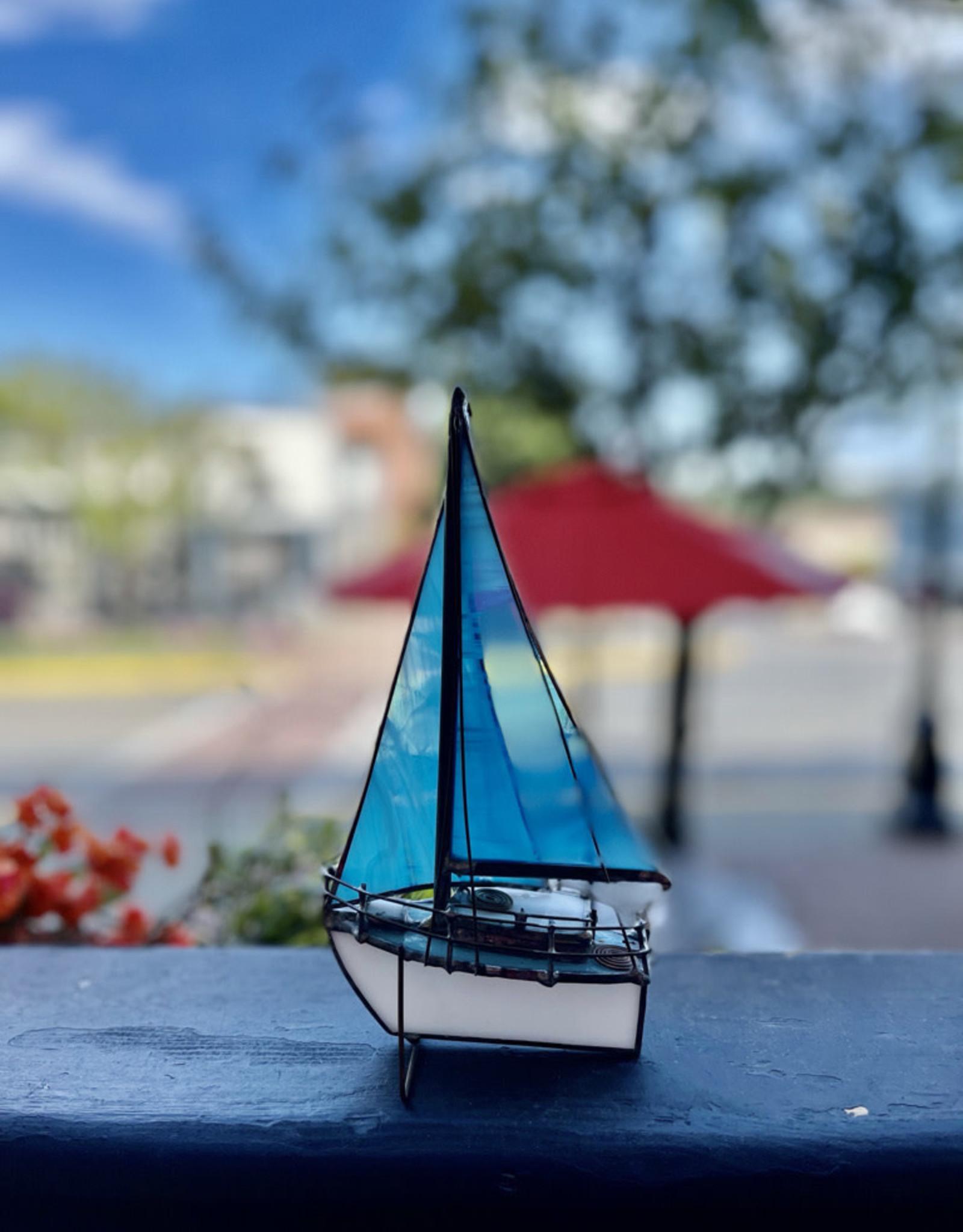 Purple Pigeon Treasures Stain glass Sailboat - Blue