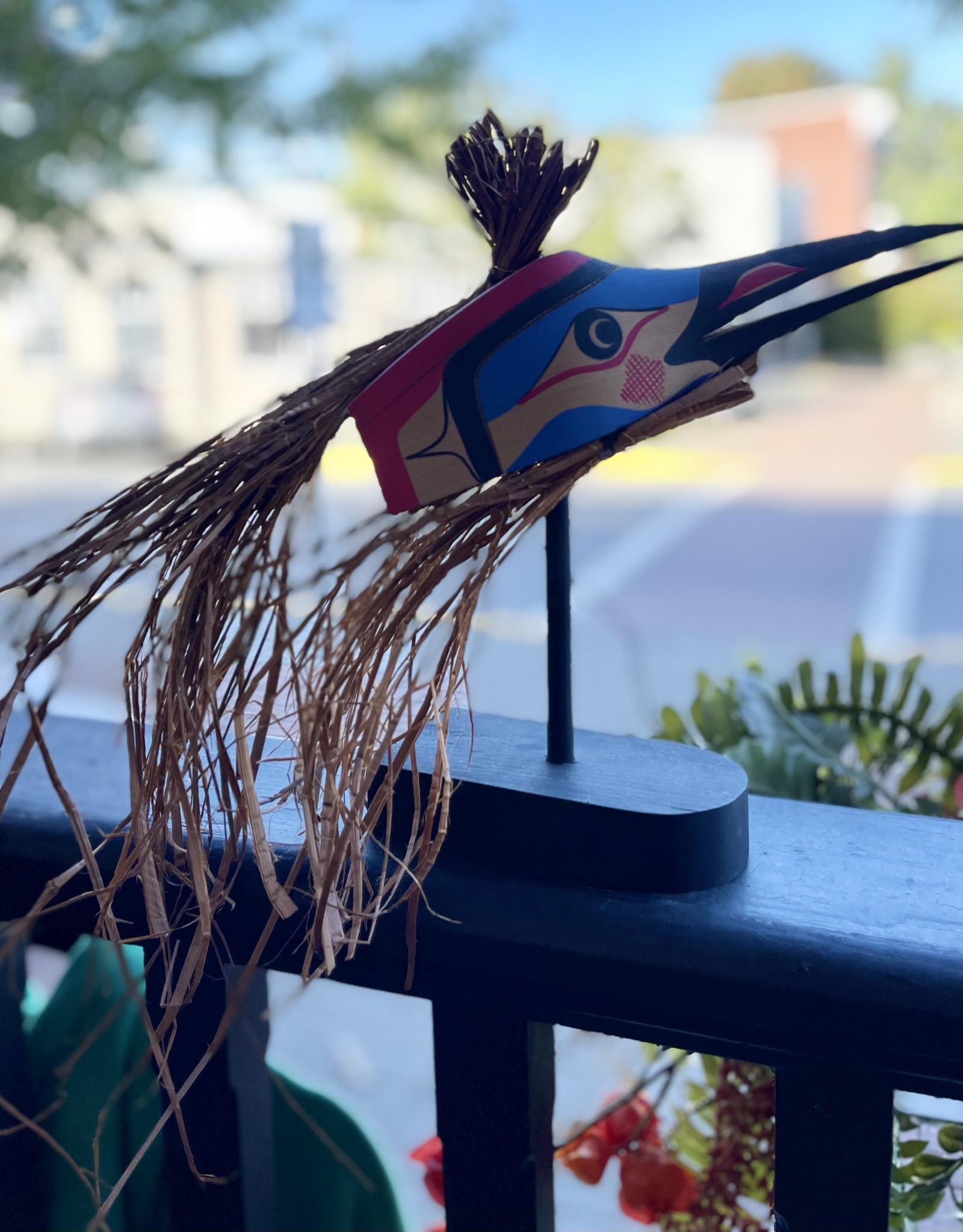 Purple Pigeon Treasures Free Standing Hummingbird Mask with Cedar Hair